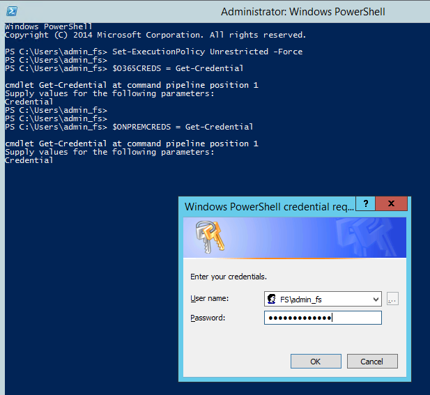 Administrator: Windows PowerShell  PS  PS  PS  cmdlet Get-credential  Supply values for the  r edential  '1 n ons PowerS e  opyright (C) 2014 Mi crosoft Corporation. All rights reserved.  adm  Set-Executionpolicy Unrestricted -Force  S0365CREDS = Get-credential  at convnand pipeline position I  following parameters:  Windows PowerShell credential req  Enter your credenbals.  Password:  in@faceresionem.onm v