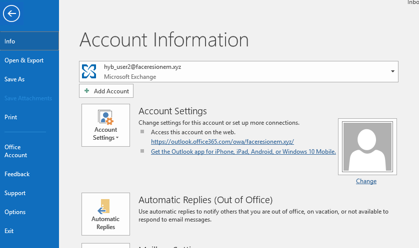 nfo  Open & Export  Print  Office  Account  Feedback  Support  Options  Account Information  Microsoft Exchange  Add Account  Settings •  Au to matic  Replies  Account Settings  Change settings for this account or set up more connections.  Access this account on the web.  https://outlook.offi ce365.com/owa/faceresionem  Get the Outlook app for iPhone iPad_ Android or Windows 10 Mobile.  Automatic Replies (Out of Office)  Use automatic replies to notify others that you are out of office, on vacation, or not available to  respond to email messages.