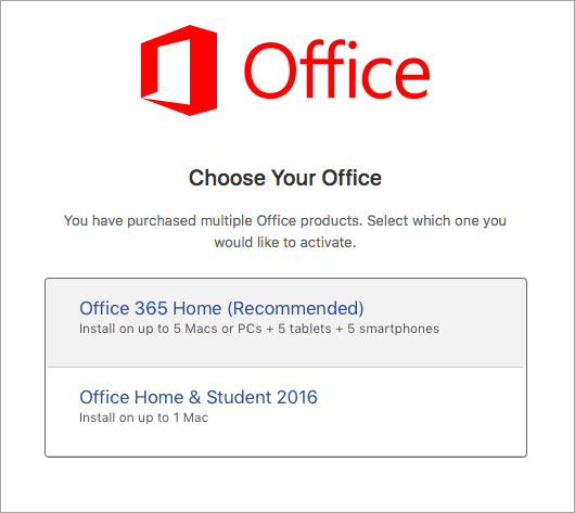 Choose Office 2016 for Mac license type
