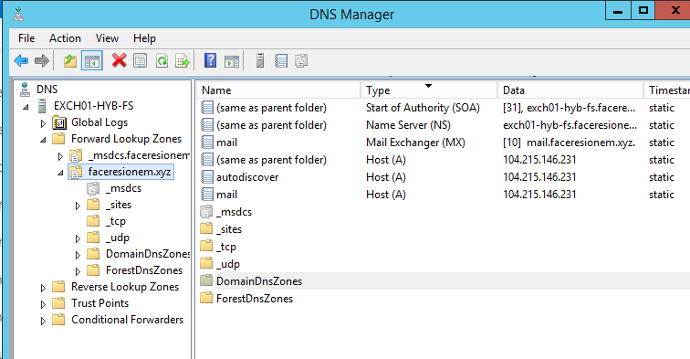 DNS Manager  File Action View Help  i EXCH01-HY8-FS  Global Logs  Forward Lookup Zones  msdcs.faceresionem  msdcs  sites  udp  DomainDnsZone:  ForestDnsZones  Reverse Lookup Zones  Trust Points  Conditional Forwarders  (same as parent folder)  (same as parent folder)  a mail  (same as parent folder)  autodiscover  a mail  sites  udp  DomainDnsZones  ForestDnsZones  Type  Start of Authority (SOA)  Name Server (NS)  Mail Exchanger (MX)  Host (A)  Host (A)  Host (A)  [31], exchOI-hyb-fs.facere...  exchOI -hyb-fs.faceresione...  [10] mail.faceresionem.xy-z.  104.215.146.231  104.215.146.231  104.215.146.231  Timestar  static  static  static