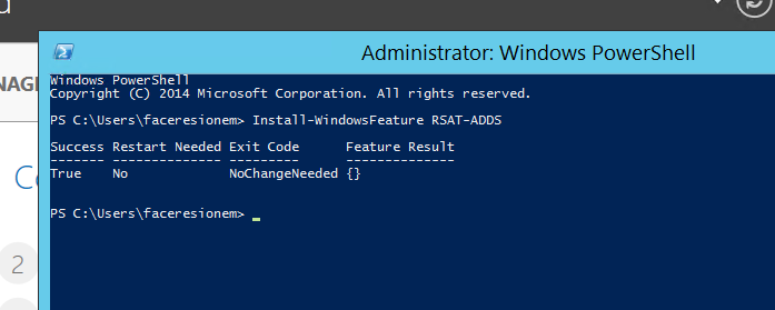 Administrator: Windows PowerShell  opyright (C) 2014 Microsoft All rights reserved.  Suæs N&ded Exit Code  PS  Featwe RUult