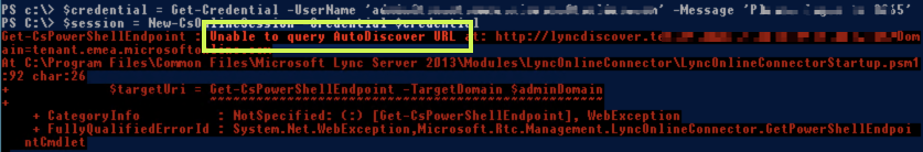 Unable to query Autodiscover URL https://lyncdiscover