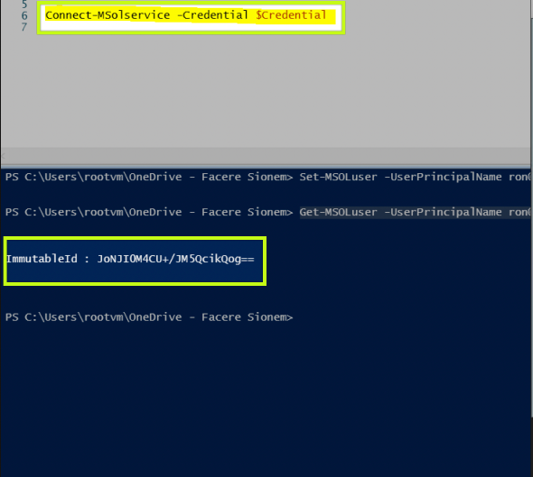 """Machine generated alternative text: 6  Connect-MS01 servi ce  -Credential Scredenti al  Facere Sionem> Set-MSOLuser  Facere Sionem> Get—MSOLuser  Windows PowerShell  Sstr. system. convert : ;From8ase64Str1ng  S hex  = —join astring I  $ s ear ch  = Shex -replace , '\$I'  $ aduser  = Get—AdUser —LDAPFi Iter """"  PS C: \Users\rootvm\OneDrive  PS C: \Users\rootvm\OneDrive  -Userprincipa1Name ron(  -Userprincipa1Name ron(  Immutabl eld  JONJIOM4CU+/JM5QcikQog  C : users \ rootvm>  C : \ Users  Di ngui shedNæne  Enabl ed  Gi venName  Name  b j ectCl ass  bj ectGUID  SamAccountName  SID  PS C :  : CV=Ron pugoy , OU=0365 Users ,  : True  . Ron  : Ron Pugoy  user  : 23498326-3843-4f09-bf24-ce50722910ü  . ron  : s-1-5-21-1324791489-3160699361-1173794010-1105  Pugoy  User-principalNæne : com  File Action View  PS C: \Users\rootvm\OneDrive  Facere Sionem>  Active Directo  Help  Name  Builtin  Computers  Users and Computers  Type  Description  Bernie Ferna"""". Contact  Domain Controllers  ForeignSecurityPrinc•  LostAndFound  Managed Service Ac  0365 Users  Program Data  Jasun  8.  P,cn Pugoy  test  test bin  Test222  User  L'ser  Distribution Gr...  Contact  Organizational..."""